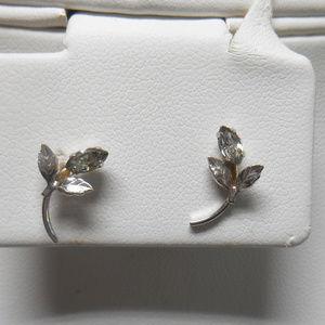 Silver tone rhinestone floral pierced earrings